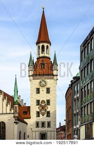 Munich architecture, Germany. Capella on Marienplatz square