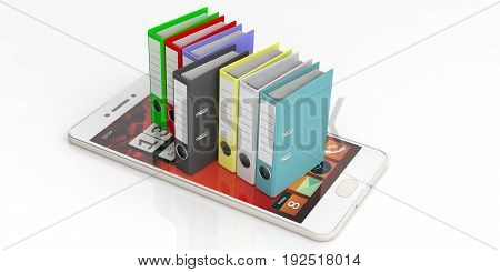Office Folders On A Smartphone On White Background. 3D Illustration