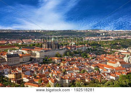 Prague Castle and Saint Vitus Cathedral Czech, Republic. Panoramic view