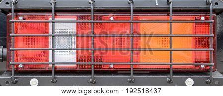 Close-up stoplight Military car close up on center