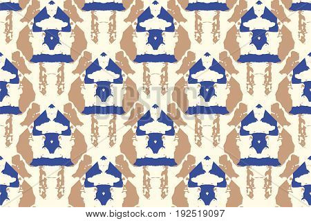 Vector tie dye seamless pattern. Hand drawn shibori print. Ink textured japanese background. Modern batik wallpaper tile. Watercolor indigo endless backdrop.