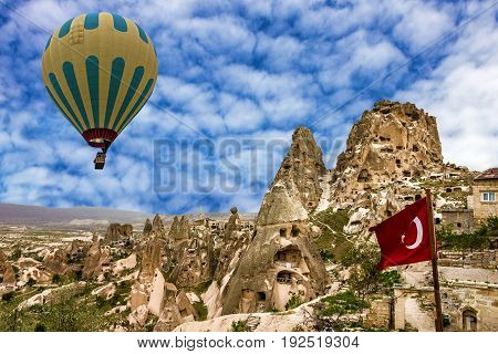 Turkish fortress Uchisar landscape in Cappadocia, Turkey