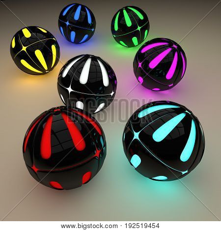 Abstract plastic sphere. Background of plastic balls. falling sphere. 3D.