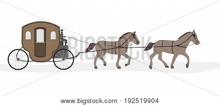 carriage with horses and driver on a white background