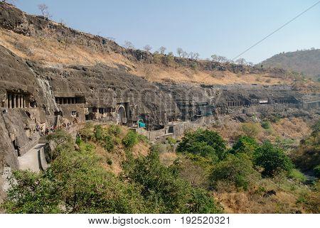 Panorama Of Ajanta Caves Near Aurangabad, Maharashtra State In India. Amazing Site Of Ancient Buddhi