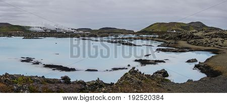 The Blue Lagoon, A Geothermal Bath Resort In The South Of Iceland, A 'must See' By Tourists. Panoram
