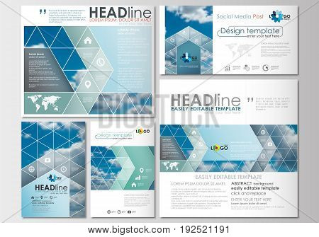 Social media posts set. Business templates. Cover design template, easy editable, abstract flat layouts in popular formats, vector illustration