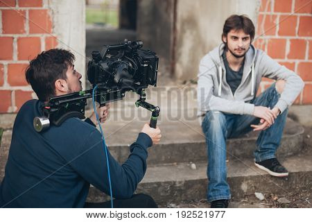 Behind The Scene. Actor In Front Of The Camera