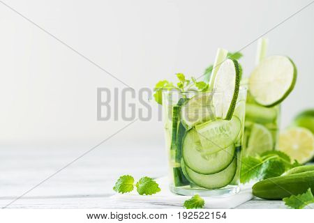 Refreshing Drink With Cucumber, Lime, Mint. Copy Space