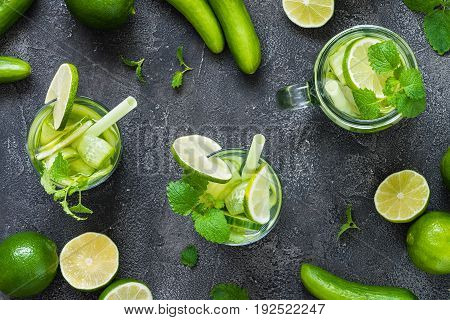 Refreshing Drink With Cucumber, Lime, Mint. Top View