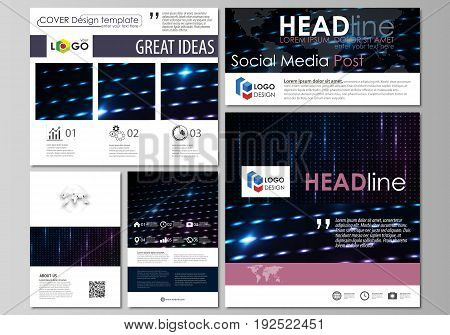 Social media posts set. Business templates. Easy editable abstract flat design template, vector layouts in popular formats. Abstract colorful neon dots, dotted technology background. Glowing particles, led light pattern, futuristic texture, digital vector