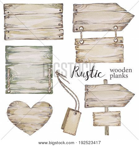 Handpainted collection watercolor wood planks clipart. Wood pointer, board, wooden heart. Rustic illustration.Perfect for blogs, lettering, pattern, invitation Botanic