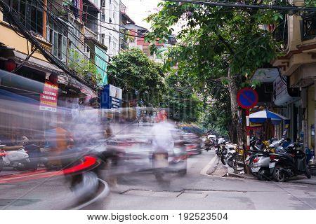 Hanoi, Vietnam - May 24, 2017: Hanoi Old Quarter Busy Traffic Scene With Many Motorbikes Constantly