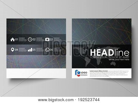 Business templates for square design brochure, magazine, flyer, booklet or annual report. Leaflet cover, abstract flat layout, easy editable vector. Colorful dark background with abstract lines. Bright color chaotic, random, messy curves. Colourful vector