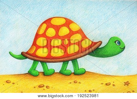 hands drawn picture of turtle going for a walk on a beach by the color pencils