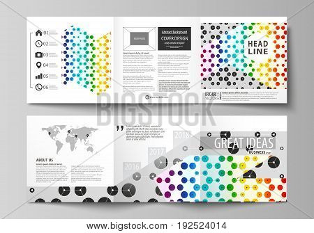Set of business templates for tri fold square design brochures. Leaflet cover, abstract flat layout, easy editable vector. Chemistry pattern, hexagonal design molecule structure, scientific, medical DNA research. Geometric colorful background.