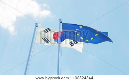 Republic of Korea and European Union, two flags waving against blue sky. 3d image