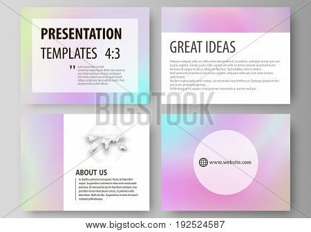 Set of business templates for presentation slides. Easy editable abstract vector layouts in flat design. Hologram, background in pastel colors with holographic effect. Blurred colorful pattern, futuristic surreal texture.