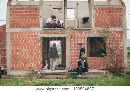 Behind The Scene Improvisation. Film Crew Filming Movie Scene Outdoor
