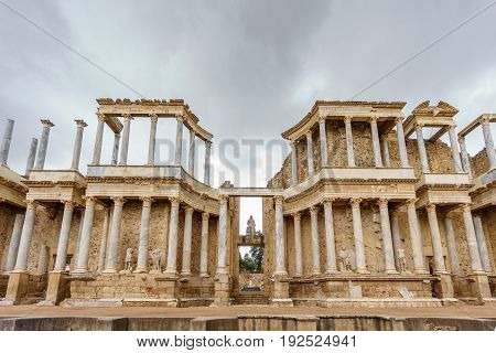 Front view wide angle of The Roman Theatre and proscenium in Merida, Extremadura, Spain