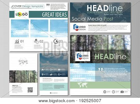 Social media posts set. Business templates. Easy editable abstract flat design template, vector layouts in popular formats. Colorful background made of triangular or hexagonal texture for travel business, natural landscape in polygonal style.