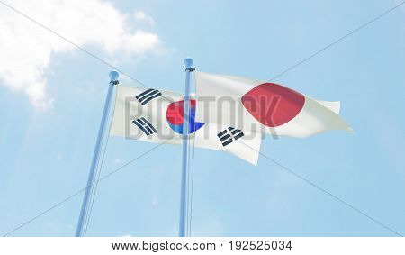 Republic of Korea and Japan, two flags waving against blue sky. 3d image