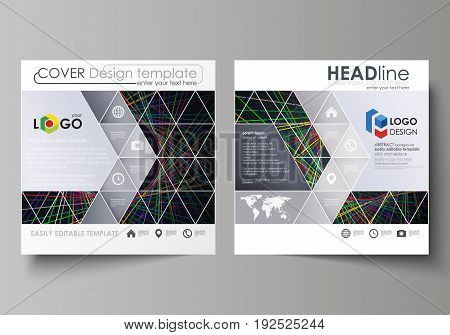 Business templates for square design brochure, magazine, flyer, booklet or annual report. Leaflet cover, abstract flat layout, easy editable vector. Bright color lines, colorful beautiful background. Perfect decoration.