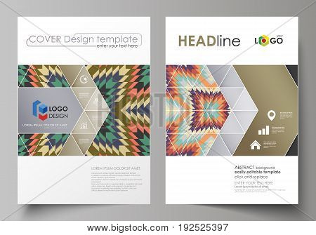 Business templates for brochure, magazine, flyer, booklet or annual report. Cover design template, easy editable vector, abstract flat layout in A4 size. Tribal pattern, geometrical ornament in ethno syle, ethnic hipster backdrop, vintage fashion backgrou