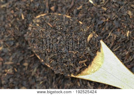 Dry black tea on a  wooden spoon on a black tea leaves background.