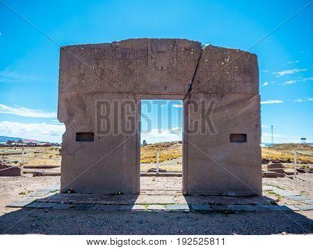 Gate of the Sun in Tiwanaku Bolivia on the high plain near lake titicaca - el altiplano