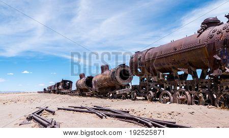 Railroad graveyard in Uyuni Bolivia. Full of abandoned trains - tourist destination