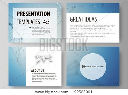 Set of business templates for presentation slides. Easy editable abstract vector layouts in flat design. Geometric blue color background, molecule structure, science concept. Connected lines and dots