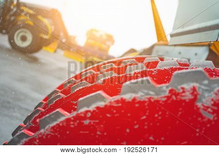Snow-removing Machine, View Of The Mechanism Close-up.