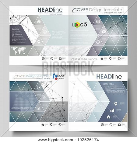 Business templates for square design bi fold brochure, magazine, flyer, booklet or annual report. Leaflet cover, abstract flat layout, easy editable vector. DNA and neurons molecule structure. Medicine, science, technology concept. Scalable graphic.