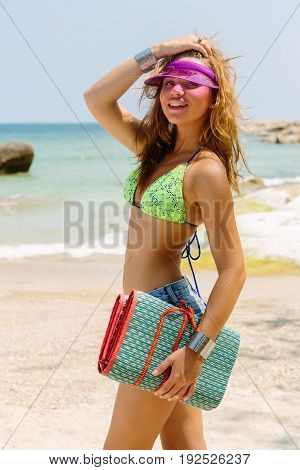 Beautiful Woman With Mat In Tropics.