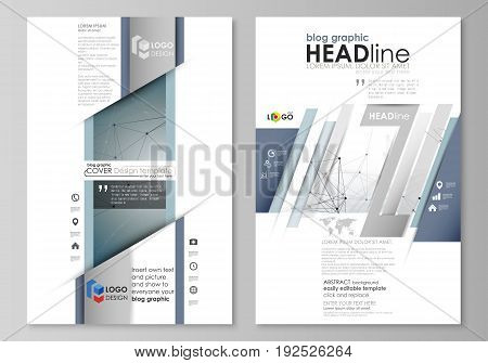 Blog graphic business templates. Page website design template, easy editable abstract vector layout. DNA and neurons molecule structure. Medicine, science, technology concept. Scalable graphic