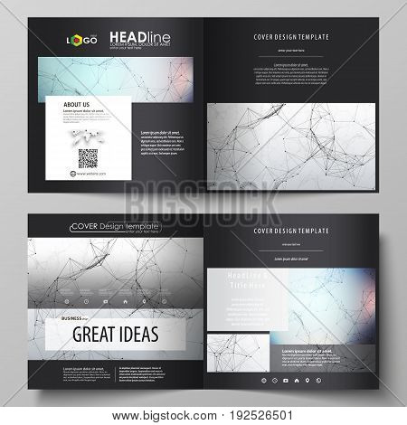 Business templates for square design bi fold brochure, magazine, flyer, booklet or annual report. Leaflet cover, abstract flat layout, easy editable vector. Compounds lines and dots. Big data visualization in minimal style. Graphic communication backgroun