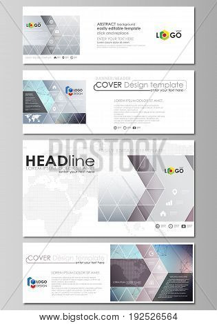 Social media and email headers set, modern banners. Business templates. Easy editable abstract design template, vector layouts in popular sizes. Compounds lines and dots. Big data visualization in minimal style. Graphic communication background.