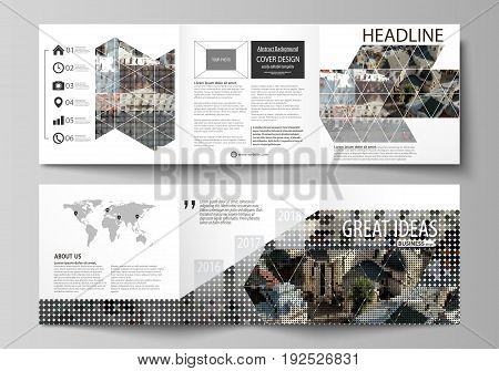 Set of business templates for tri fold square design brochures. Leaflet cover, abstract flat layout, easy editable vector. Colorful background made of dotted texture for travel business, urban cityscape