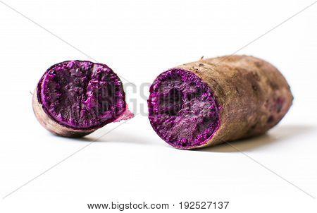 Cooked Purple Potato Isolated