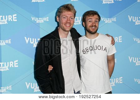 NEW YORK, NY - MAY 21: Hayes Davenport (L) and Sean Clements attend the 'Hollywood Handbook' podcast during the 2017 Vulture Festival at Milk Studios on May 21, 2017 in New York City.