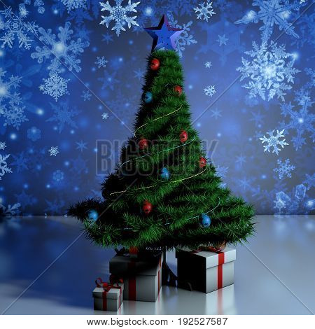 Gifts under the tree. Christmas Tree. Natural tree festive new year.