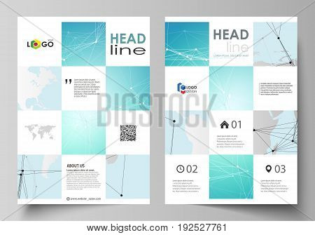 The vector illustration of the editable layout of A4 format covers design templates for brochure, magazine, flyer, booklet, report. Futuristic high tech background, dig data technology concept