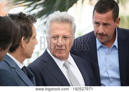 Ben Stiller, Dustin Hoffman and Adam Sandler attend 'The Meyerowitz Stories' photocall during the 70th annual Cannes Film Festival at Palais des Festivals on May 21, 2017 in Cannes, France.