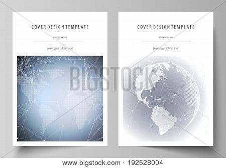 The vector illustration of the editable layout of A4 format covers design templates for brochure, magazine, flyer, booklet, report. Abstract futuristic network shapes. High tech background