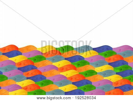 wooden multicolored figured wavy boards isolated on the white. Empty place for text