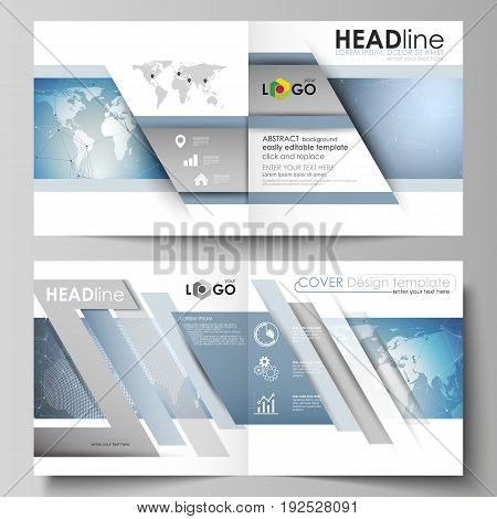 The vector illustration of the editable layout of two covers templates for square design bi fold brochure, magazine, flyer, booklet. Scientific medical DNA research. Science or medical concept