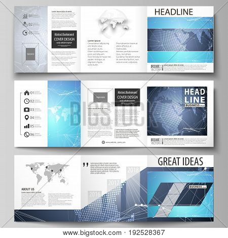 The minimalistic vector illustration of the editable layout. Three creative covers design templates for square brochure or flyer. Abstract global design. Chemistry pattern, molecule structure