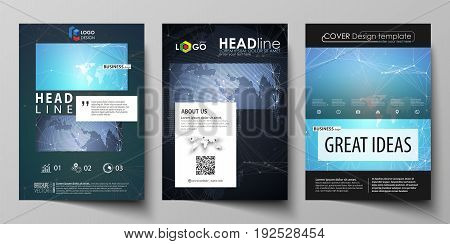 The black colored vector illustration of the editable layout of A4 format covers design templates for brochure, magazine, flyer, booklet. Abstract global design. Chemistry pattern, molecule structure