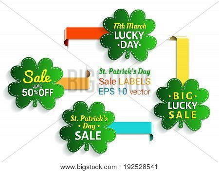 St. Patrick's day sale shamrock label collection. EPS 10 vector.